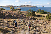 Indonesia, Komodo island,  Gili Lawat dara deserted island , in Komodo national park, Tourists treking on a deserted island
