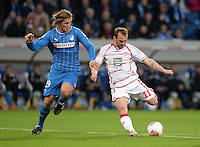 Fussball 1. Bundesliga 2012/2013: Relegation  Bundesliga / 2. Liga  TSG 1899 Hoffenheim  - 1. FC Kaiserslautern          23.05.2013 Jannik Vestergaard (li, TSG 1899 Hoffenheim) gegen Erwin Hoffer (re, 1. FC Kaiserslautern)