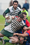 Mark Selwyn gets dragged to ground by Cameron Bell & Jon-Paul Fonoimoana. Counties Manukau Premier Club Rugby game between Manurewa and Ardmore Marist played at Mountfort Park, Manurewa on Saturday June 19th 2010..Manurewa won the game 27 - 10 after leading 15 - 5 at halftime.