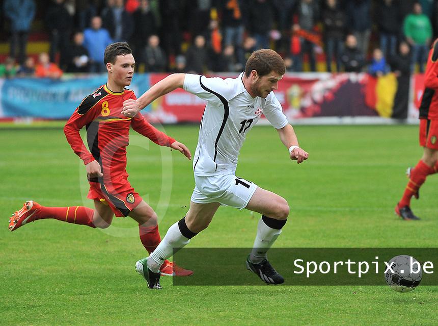 Georgia U19 - Belgium U19 : Budu Zivzivadze (17) and Birger Verstraete (8)<br /> foto DAVID CATRY / Nikonpro.be