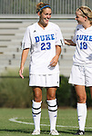 24 August 2008: Duke's Ashley Rape (23) with Kelly McCann (18). The Duke University Blue Devils defeated the Coastal Carolina University Lady Chanticleers 9-0 at Koskinen Stadium in Durham, North Carolina in an NCAA Division I Women's college soccer game.