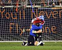 William Gaudette #1 of the Puerto Rica Islanders and Edwin Miranda #26 celebrate their championship win during the second leg of the USSF-D2 championship match against theCarolina Railhawks at WakeMed Soccer Park, in Cary, North Carolina on October 30 2010.