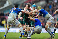 Mike Fitzgerald of Leicester Tigers takes on the Saracens defence. Aviva Premiership match, between Leicester Tigers and Saracens on March 20, 2016 at Welford Road in Leicester, England. Photo by: Patrick Khachfe / JMP