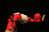 Svetlana Rudalova of Belarus performs here with ball and made all four apparatus finals in rhythmic gymnastics at World Games from Duisburg, Germany on July 20-21, 2005.  Event finals in rhythmic gymnastics are only held at World Games. (Photo/Tom Theobald)