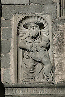 Relief sculpture, South facade, Museo Catedratico y Diocesano (Cathedral and Diocesian Museum), Avila Cathedral, 12th-14th centuries, Avila, Castile and Leon, Spain. Begun, 1095, in Romanesque style with fortifications, the style later switched to Gothic. Picture by Manuel Cohen