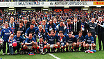 Rangers squad at Ibrox as they celebrate winning seven league titles in a row, April 1996