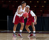 Stanford, CA., March 25, 2013,-- Stanford Women's basketball players  Amber Orrange and Jasmine Camp, during team practice for there second round NCAA 2013 basketball championship game against Michigan on Monday, March 25, 2013, at Maples Pavilion.  ( Norbert von der Groeben )