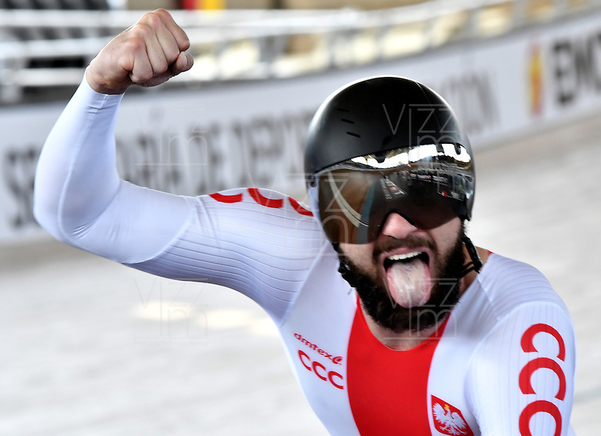 CALI – COLOMBIA – 19-02-2017: Krzysztof Maksel de Polonia, gana medalla de oro en la prueba del Kilometro hombres en el Velodromo Alcides Nieto Patiño, sede de la III Valida de la Copa Mundo UCI de Pista de Cali 2017. / Krzysztof Maksel from Poland, win gold medal in Men's Kilometer Race at the Alcides Nieto Patiño Velodrome, home of the III Valid of the World Cup UCI de Cali Track 2017. Photo: VizzorImage / Luis Ramirez / Staff.