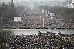 Inauguration of Barack Obama as the 44th President of the United States of America, crowds gather on the National Mall, morning of the swearing in. Washington, D.C., January 20, 2009
