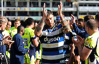 Matt Banahan of Bath Rugby acknowledges the crowd after the match. Aviva Premiership match, between Bath Rugby and Sale Sharks on April 23, 2016 at the Recreation Ground in Bath, England. Photo by: Alexander Davidson / JMP for Onside Images