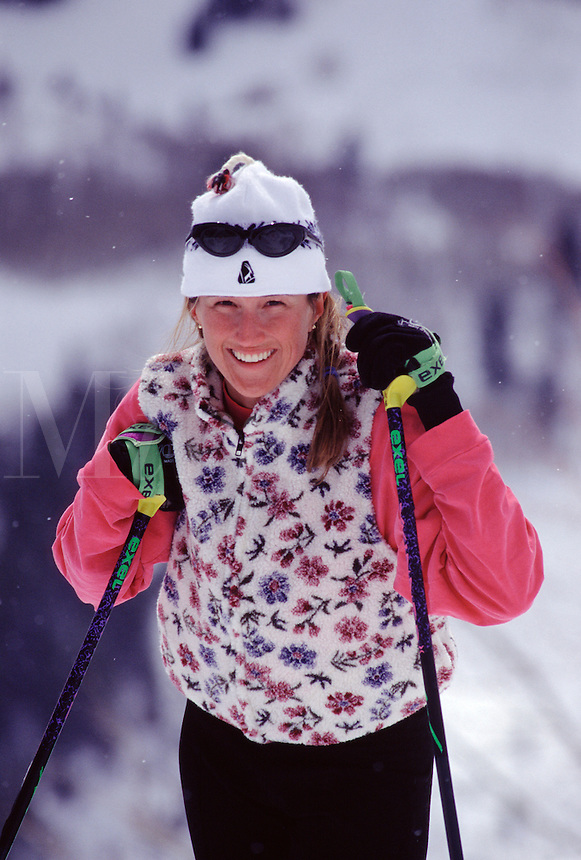 A woman cross country skiing at Sundance, UT.