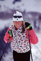 A woman cross country skiing at Sundance, UT.