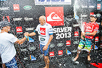 KIRRA, Queensland/Australia (Wednesday, March 13, 2013) Tom Carrroll (AUS) congratulates Slater- Kelly Slater (USA), 41, 11-time ASP World Champion and 2012 ASP World Runner-Up, has claimed the 2013 Quiksilver Pro Gold Coast in firing three-to-five foot (1 - 1.5 metre) barrels at Kirra over reigning ASP World Champion Joel Parkinson (AUS), 31, in front of a capacity crowd on the Gold Coast..The opening stop on the 2013 ASP World Championship Tour (WCT), the Quiksilver Gold Coast culminated in fine fashion today with a tube-riding shootout between two of the sport's greatest champions..Slater and Parkinson opened their 40-minute Final bout with a rapid-fire exchange of tube-riding displays, vaulting the lead back and forth before Slater nailed a 9.93 for an incredibly-deep barrel punctuated by a full-velocity forehand gaff..Today win marks Slater's 52nd elite tour victory of his career, but the iconic Floridian admits that it's a long season ahead in terms of the hunt for the 2013 ASP World Title...Parkinson looked unbeatable on the final day of the event, collecting a Perfect 10 in his morning Semifinal before posting an excellent 17.47 in his Final against Slater. However, the impressive scoreline would prove insufficient against the American's onslaught and the reigning ASP World Champion would post a Runner-Up finish in the opening event of the year..Mick Fanning (AUS), 31, two-time ASP World Champion (2007, 2009), went down in a barrel shootout this morning with Slater. Despite opening up with an impressive scoreline and an early lead, the Kirra local would ultimately fall to Slater in the dying moments of the heat - 18.60 to 19.37..Fanning collects an Equal 3rd place finish in the opening event of the season..Michel Bourez (PYF), 27, opened up this morning's action with a Semifinal bout against Parkinson. Despite being universally-celebrated as one of the most powerful surfers throughout the event, the Tahitian found himself at odds this morning