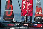 Emirates Team New Zealand in the second official practice race for the San Francisco America's Cup World Series regatta. 2/10/2012