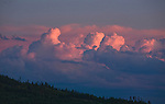 Cumulous clouds at sunset in Big Sky country of Montana