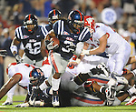 Mississippi cornerback Charles Sawyer (3) recovers a Fresno State fumble during an NCAA college football game at Vaught-Hemingway Stadium in Oxford, Miss. on Saturday, Sept. 25, 2010. (AP Photo/Oxford Eagle, Bruce Newman)  ** MAGS OUT, NO SALES, MANDATORY CREDIT **