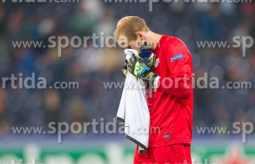 19.08.2014, Red Bull Arena, Salzburg, AUT, UEFA CL, FC Red Bull Salzburg vs Malmö FF, Play Off, Hinspiel, im Bild enttäuscht Peter Gulacsi (FC Red Bull Salzburg) // during the UEFA Championsleague 1st Leg, Play Off Match between FC Red Bull Salzburg and Malmoe FF at the Red Bull Arena in Salzburg, Austria on 2014/08/19. EXPA Pictures © 2014, PhotoCredit: EXPA/ JFK