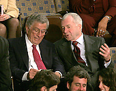 Washington, D.C. - January 4, 2007 --  Singer Tony Bennett, left, and an unidentified gentlemen, right, watch the voting for United States Representative Nancy Pelosi (Democrat of the 8th District of California) as the Speaker of the United States House of Representatives in the Capitol in Washington, D.C. on Thursday, January 4, 2007.  Speaker Pelosi is the first woman in U.S. history to serve in that position..Credit: Ron Sachs / CNP