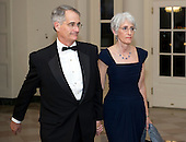 Wendy Sherman, Under Secretary of State for Political Affairs, and Bruce Stokes, arrive for the Official Dinner in honor of Prime Minister David Cameron of Great Britain and his wife, Samantha, at the White House in Washington, D.C. on Tuesday, March 14, 2012..Credit: Ron Sachs / CNP.(RESTRICTION: NO New York or New Jersey Newspapers or newspapers within a 75 mile radius of New York City)