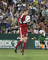 Troy Perkins #23 of D.C. United makes a save during an international friendly match against A.C. Milan at RFK Stadium, on May 26 2010 in Washington DC. Milan won 3-0.
