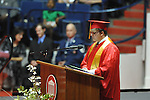 "Senior Austin Calder addresses the Lafayette High's graduation ceremony  at the C.M. ""Tad"" SMith Coliseum at the University of Mississippi on Friday, May 20, 2011."