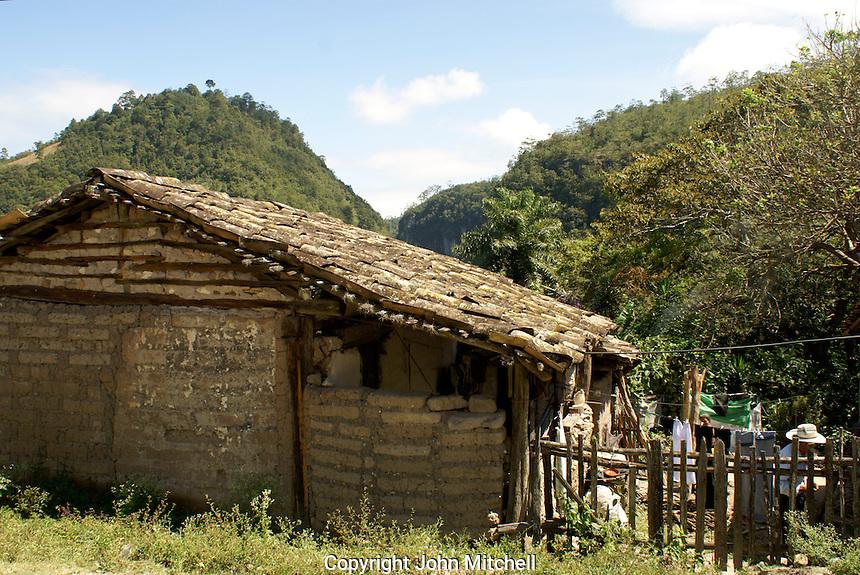 Typical rural Honduran house in the Lenca Indian village of La Campa, Lempira, Honduras.