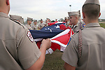 2 December 2005: Texas A&M ROTC members unfurl a large American flag for the national anthem. The University of Portland Pilots defeated the Penn State Nittany Lions 4-3 on penalty kicks after the teams played to a 0-0 overtime tie in their NCAA Division I Women's College Cup semifinal at Aggie Soccer Stadium in College Station, TX.