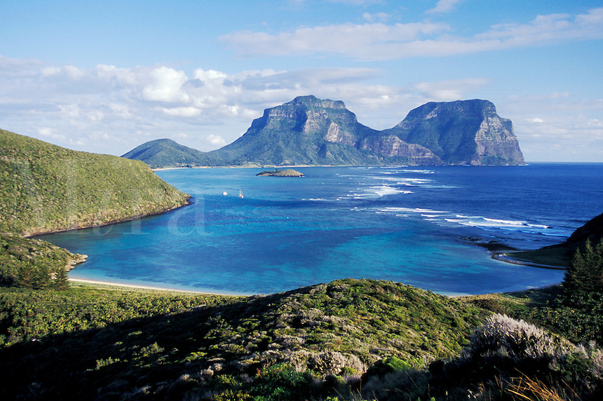 North Bay with Mt. Lidgbird & Mt. Gower in background, Lord Howe Island, NSW, Australia