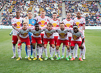 New York Red Bulls line up before a Major League Soccer game at PPL Park in Chester, PA.  Philadelphia defeated New York, 3-0.