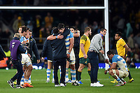Argentina players look dejected after the match. Rugby World Cup Semi Final between Argentina v Australia on October 25, 2015 at Twickenham Stadium in London, England. Photo by: Patrick Khachfe / Onside Images