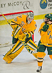 19 February 2016: University of Vermont Catamount Goaltender Packy Munson, a Freshman from Hugo, MN, makes a third period save against the Boston College Eagles at Gutterson Fieldhouse in Burlington, Vermont. The Eagles defeated the Catamounts 3-1 in the first game of their weekend series. Mandatory Credit: Ed Wolfstein Photo *** RAW (NEF) Image File Available ***