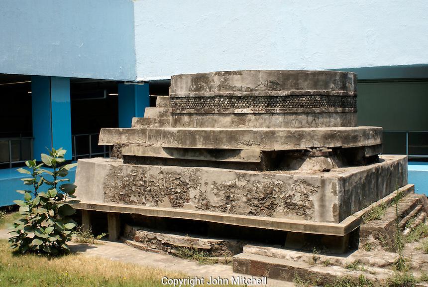 Aztec ruins in the Pino Suarez metro station in Mexico City. Adoratorio del Dios Ethecatel.