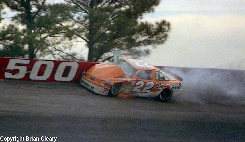 Grant Adcox hits wall turn 1 fatal crash Atlanta Journal 500 at Atlanta International Raceway in Hampton , GA on November 19, 1989.  (Photo by Brian Cleary/www.bcpix.com)