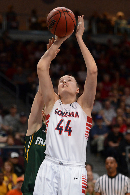 March 7, 2014; Las Vegas, NV, USA; Gonzaga Bulldogs center Shelby Cheslek (44) shoots the ball against the San Francisco Dons during the first half of the WCC Basketball Championships at Orleans Arena.
