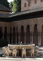 Courtyard of the Lions, 1362 ? 1391, Muhammad V, Nasrid Palaces, The Alhambra, Granada, Andalusia, Spain. Picture by Manuel Cohen