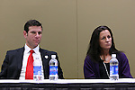 15 January 2009: 2009 National Soccer Hall of Fame player electees Jeff Agoos (left) and Joy Fawcett (right). The election announcement press conference was held at the Convention Center in St. Louis, Missouri in conjuction with the National Soccer Coaches Association of America's annual convention.