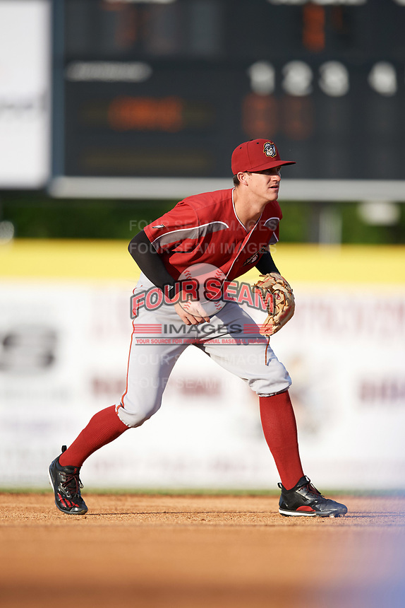 Altoona Curve shortstop Kevin Newman (2) during a game against the Binghamton Rumble Ponies on May 17, 2017 at NYSEG Stadium in Binghamton, New York.  Altoona defeated Binghamton 8-6.  (Mike Janes/Four Seam Images)