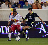 Gareth Bale (3) of Tottenham takes the ball away from Dane Richards (19) of the New York Red Bulls during the Barclays New York Challenge at Red Bull Arena in Harrison, NY.  Tottenham defeated the New York Red Bulls, 2-1.