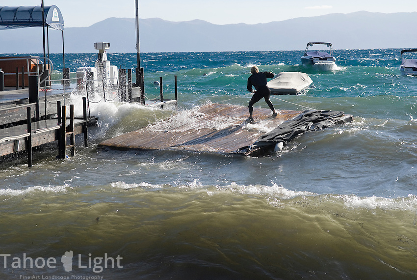 An uncommon easterly wind kicked up waves on the west shore of lake Tahoe up to the size normally seen at the ocean. Docks were damaged in Sunnyside and several boats were washed ashore and pounded by waves in Homewood.