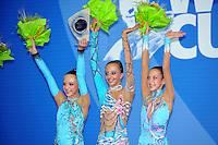 (L-R) Junior winners of team gold medal from Russia are:  Diana Borisova, Daria Svatkovskaya, Daria Lazarchuk at 2010 Pesaro World Cup on August 27, 2010 at Pesaro, Italy.  Photo by Tom Theobald.