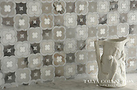Damascus, a stone waterjet mosaic shown in Pallisandra honed, Snow White polished, Avenza honed and Skyline honed, is part of the Talya Collection by Sara Baldwin for Marble Systems.