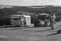 The food vans in the carpark during the  running of the 1976 Rip Curl Pro, Bells Beach, Torquay, Victoria, Australia. Easter circa 1976.Photo:  joiliphotos.com