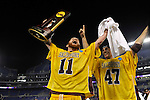 29 MAY 2011: Shawn Zordani (11) of Salisbury University raises the trophy after the game against Tufts University during the Division III Men's Lacrosse Championship held at M+T Bank Stadium in Baltimore, MD.  Salisbury defeated Tufts 19-7 for the national title. Larry French/NCAA Photos