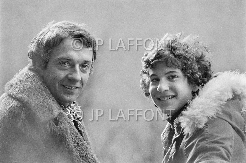 """27 Feb 1973, New York State, USA. French actor and dancer Jean Pierre Cassel (born Crochon) and his son Matthias, who went on to lead the rap group """"Assassin"""" under the name of """"Rockin' Squat"""", in New York. Image by © JP Laffont"""