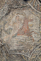 Roman mosaic of a sea nymph riding a seahorse from the House of Ephebe, Volubilis, Northern Morocco. Volubilis was founded in the 3rd century BC by the Phoenicians and was a Roman settlement from the 1st century AD. Volubilis was a thriving Roman olive growing town until 280 AD and was settled until the 11th century. The buildings were largely destroyed by an earthquake in the 18th century and have since been excavated and partly restored. Volubilis was listed as a UNESCO World Heritage Site in 1997. Picture by Manuel Cohen