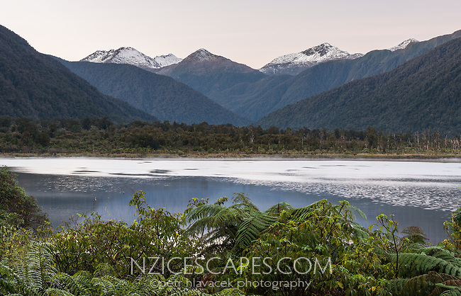 Sunrise over Lake Moeraki, South Westland, Landsbourough, West Coast, UNESCO World Heritage Area,, New Zealand, NZ