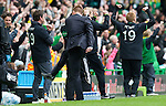 Celtic v St Johnstone....01.04.12   SPL.A furious Steve Lomas kicks a water bottle after a foul on Liam Craig went unpunished and Celtic went straight up the other and and scored which Neil Lennon celebrates.Picture by Graeme Hart..Copyright Perthshire Picture Agency.Tel: 01738 623350  Mobile: 07990 594431