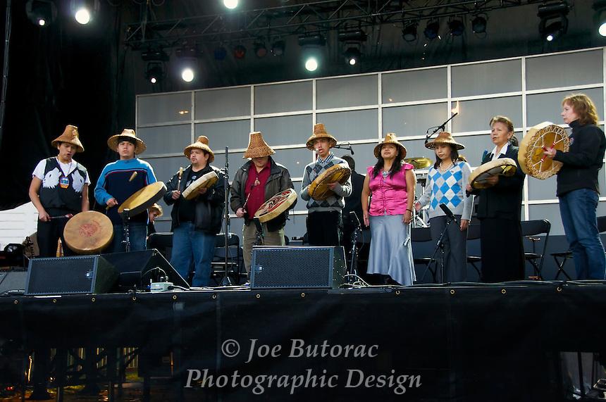Kwantlen First Nation Drummers at B.C. 150 Celebration Fort Langley B.C.