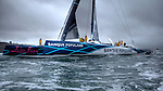 Maxi Banque Populaire V (FRA), the 140 foot trimaran skippered by Loick Peyron on her arrival from her new Trophée Jules Verne record, 45 days 13 hours 42 minutes 53 secondes, Brest, Brittany, France.