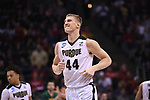MILWAUKEE, WI - MARCH 16:  Purdue Boilermakers center Isaac Haas (44) grins after a play during the first half of the 2017 NCAA Men's Basketball Tournament held at BMO Harris Bradley Center on March 16, 2017 in Milwaukee, Wisconsin. (Photo by Jamie Schwaberow/NCAA Photos via Getty Images)